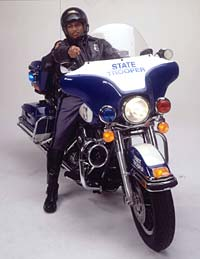 State Patrol trooper on motorcycle