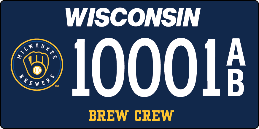 New Brewers license plate that's blue with Milwaukee Brewers logo of the ball in glove logo and numbers 10001 A over B