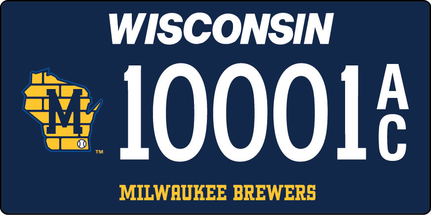 Picture of new Brewers License plate with artwork that shows gold state outline with letter M over it - numbered 10001A over C
