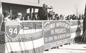 Governor Warren Knowles at the ribbon-cutting ceremony for the final section of I-94 in Jefferson County - October 27, 1965