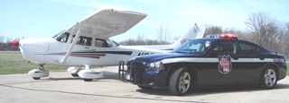 Officers in the air work as a team with those on the ground.