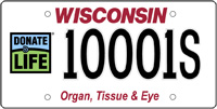 Donate Life Wisconsin license plate.