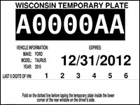 image regarding Printable Temporary License Plate Template identified as Wisconsin DMV Formal Governing administration Website Short-term license