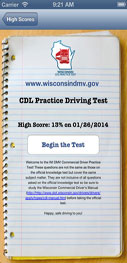 Screen capture of CDL Practice Driving Test