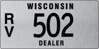 Recreational vehicle dealer license plate issued 2011