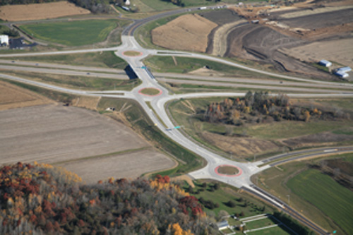 three consecutive roundabouts on a freeway