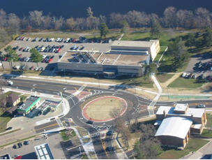 Overhead view of roundabout.
