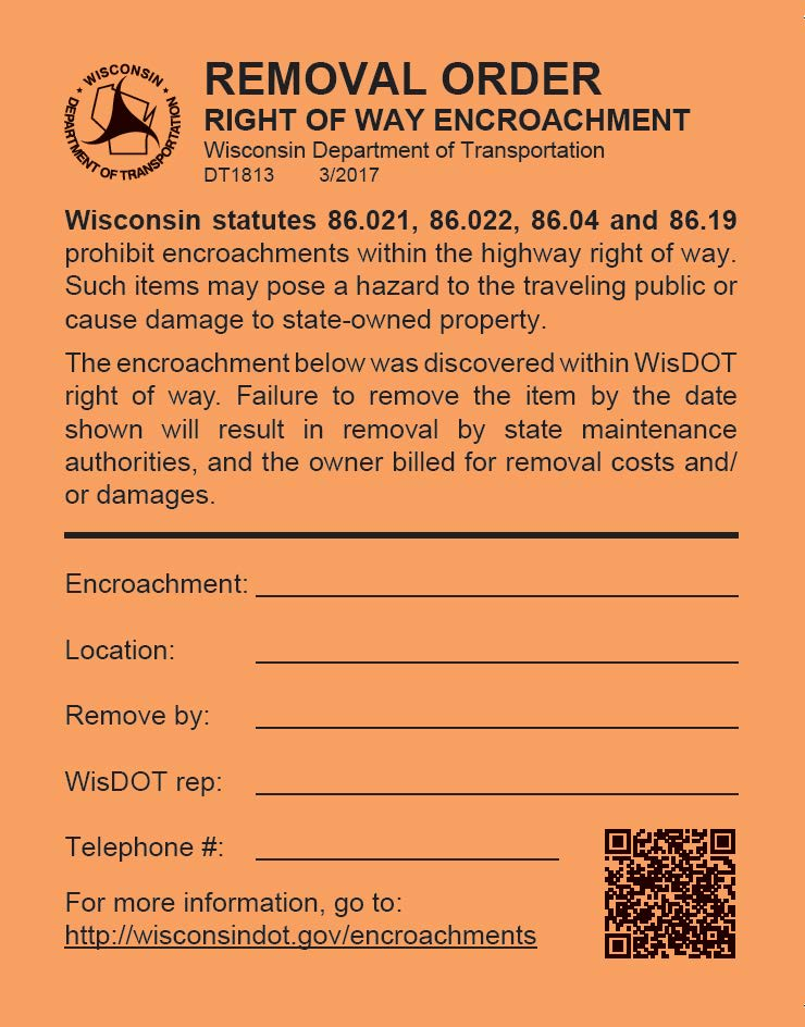 Wisconsin department of transportation encroachments for more information platinumwayz