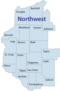 Northwest region counties of Wisconsin
