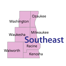 Southeast region counties of Wisconsin