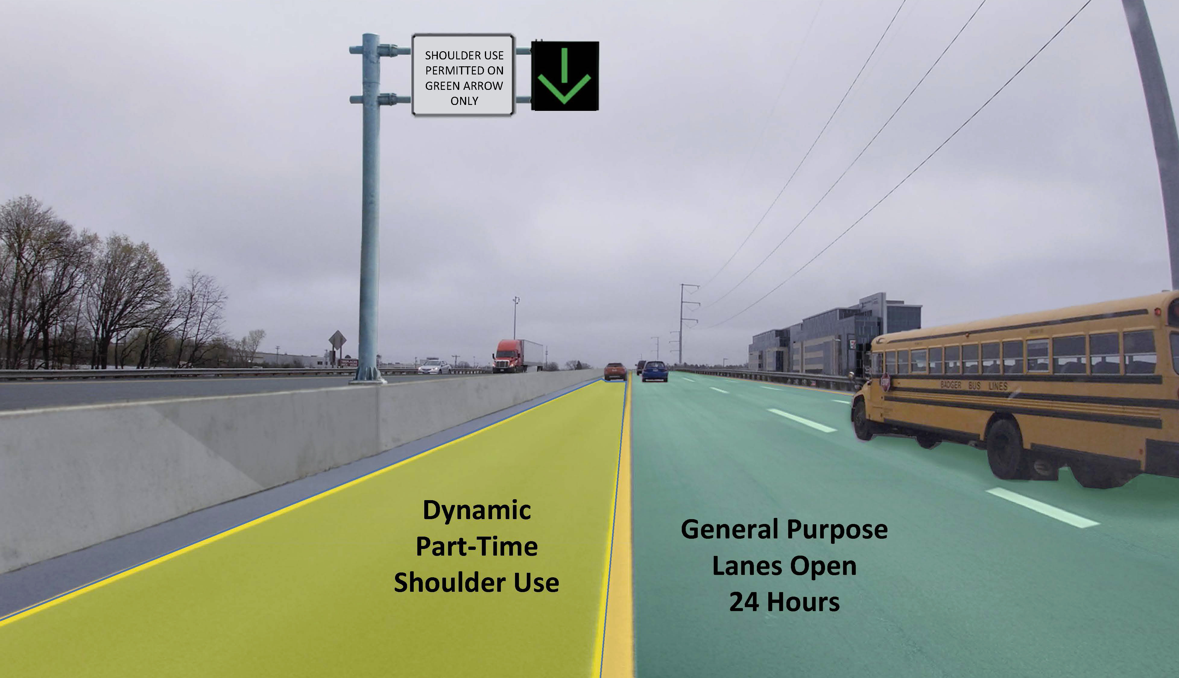 Image showing what the road would look like with Shoulder use allowed