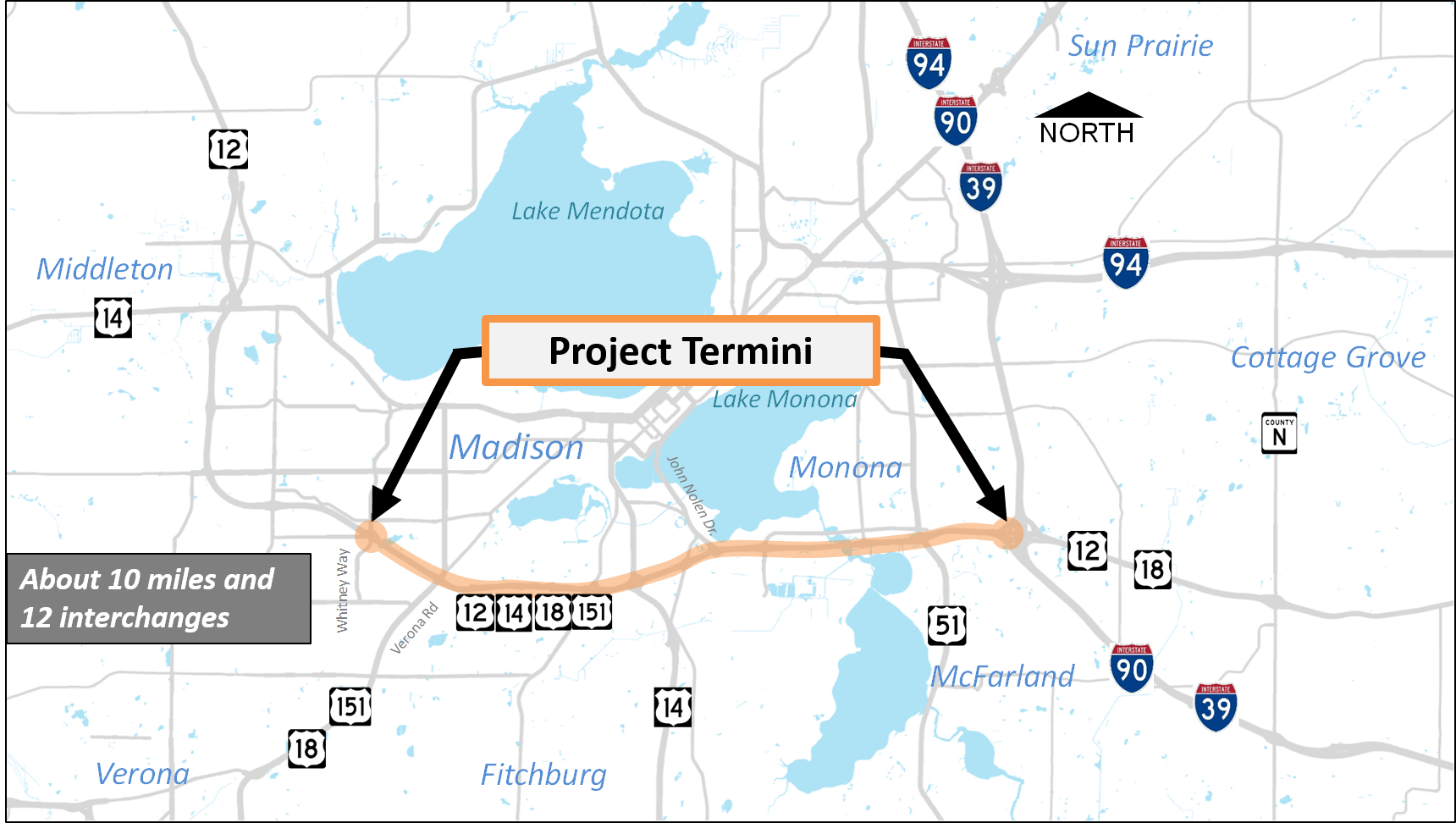 Image of map showing project start and end points