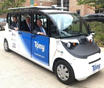 WisDOT Secretary, Deputy Secretary and Assistant Deputy Secretary in an automated vehicle.