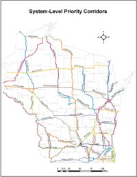 Statewide map of system-level corridors