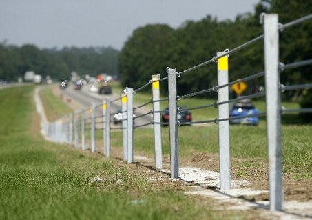 High tension cable barrier alongside of road