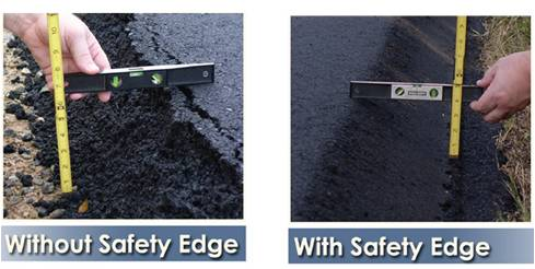 Asphalt road with and without safety edge