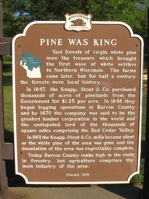 Pine Was King historical marker