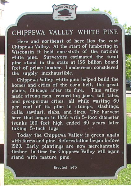 Chippewa Valley White Pine historical marker