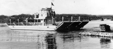 Black and white photo of the Merrimac Ferry, Colsac II.